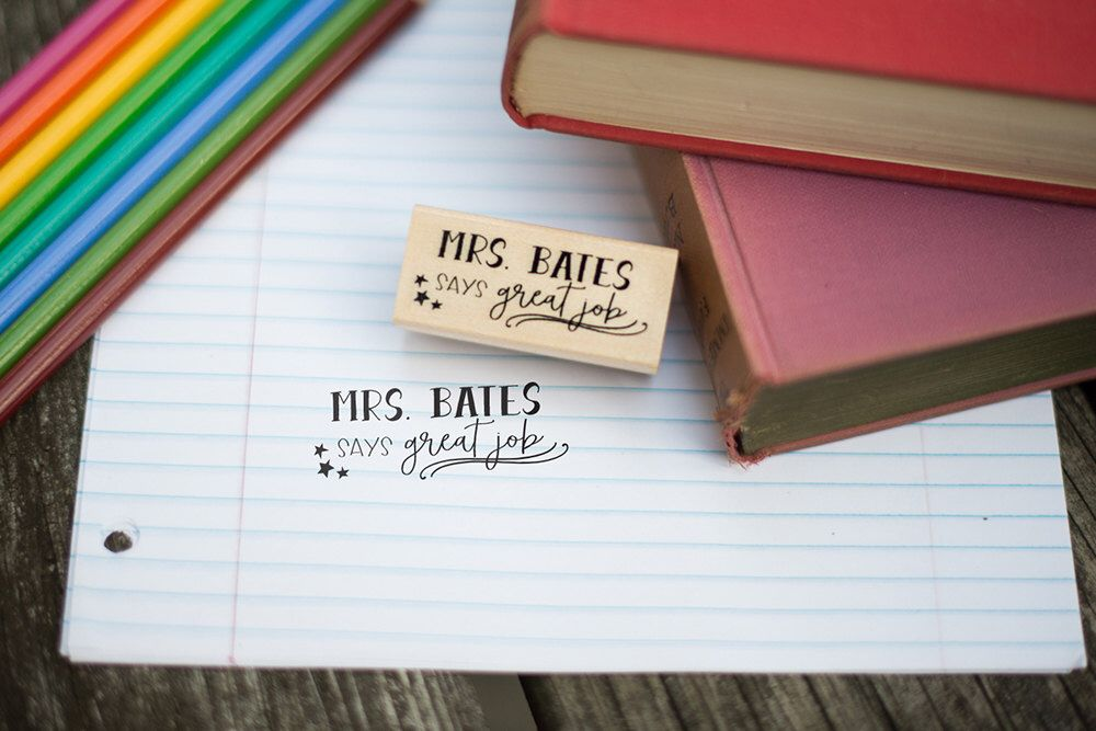 Says Great Job Customizable Teacher Stamp - Teacher Gift - Teacher Grading Stamp - T4 by HeartcraftedCo on Etsy https://www.etsy.com/listing/480354713/says-great-job-customizable-teacher