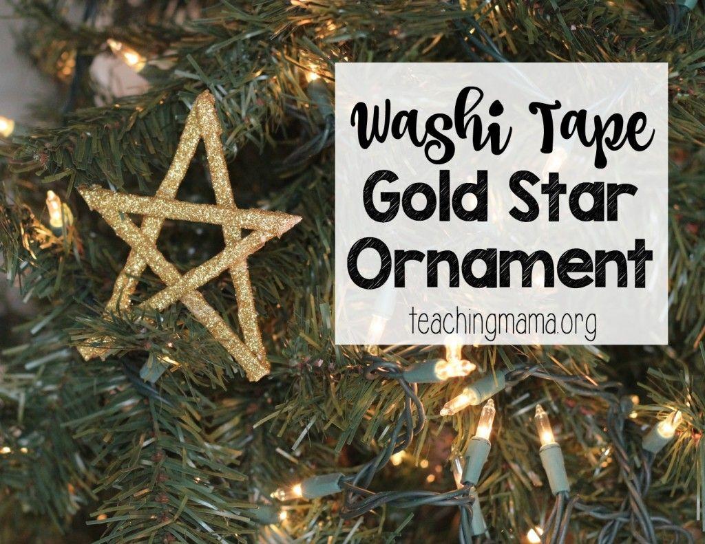 Washi Tape Gold Star Ornament