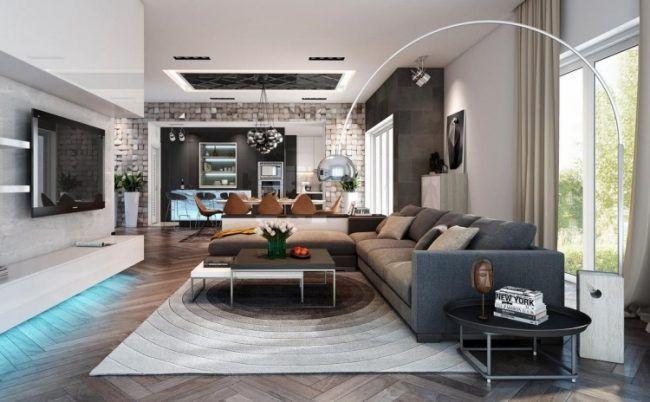 Wohnzimmer in Grau -eckcouch-nuancen-teppich-lampe-arco-wohnwand - lampe wohnzimmer modern