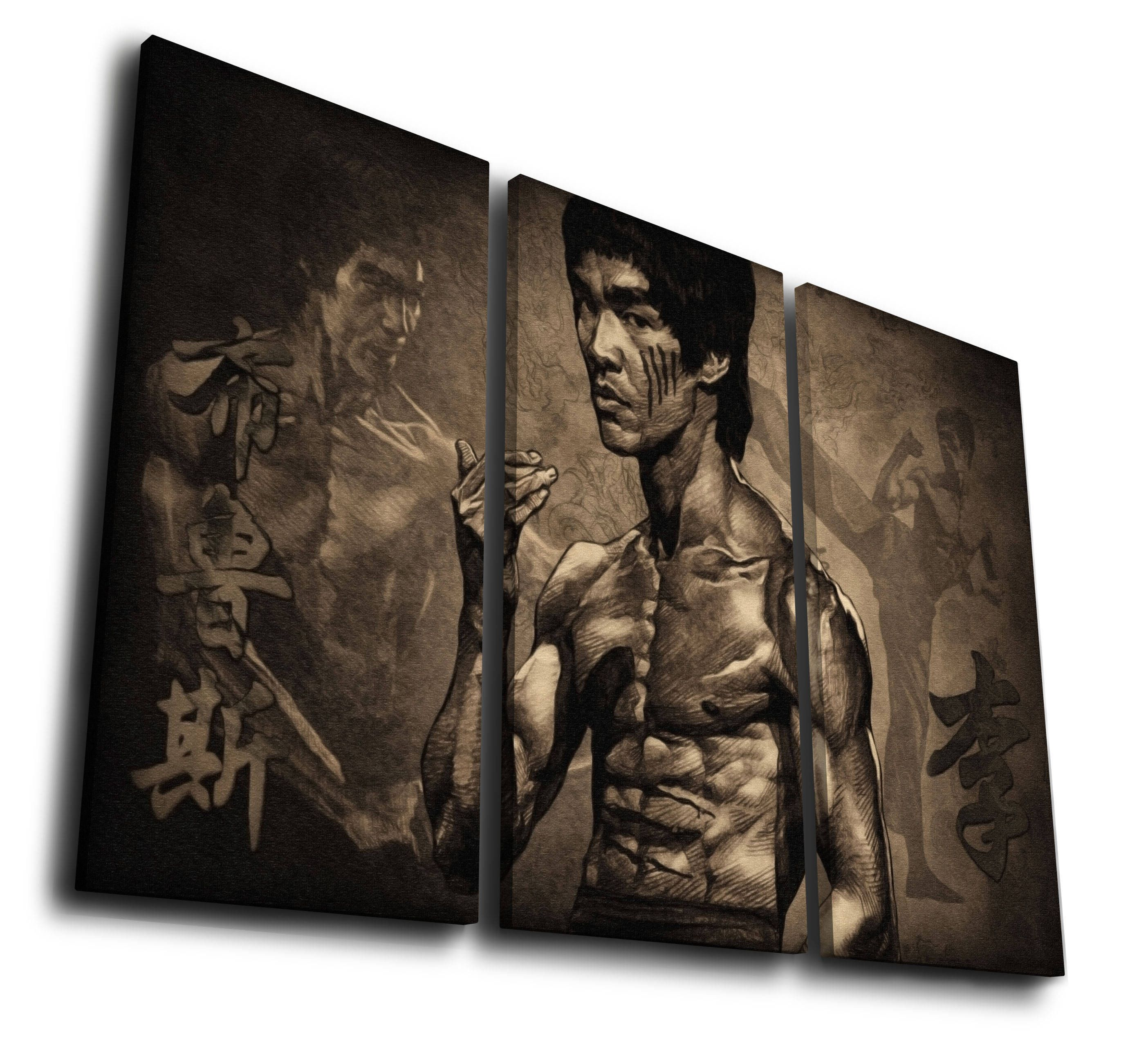 Bruce Lee Painting Printed on Canvas Wall Art Picture for