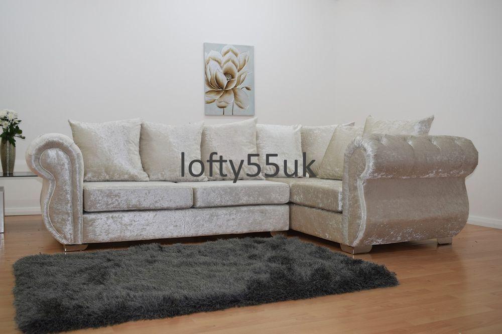 Windsor Chesterfield Style Crushed Velvet Complete Corner Sofa Set