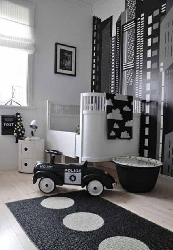 Kinderzimmer Junge Wandgestaltung Ideen Schwarz Weiß