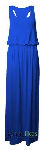 Womens Maxi Dress Ladies Jersey Toga Maxi Racer Back Long Vest Maxi Dress Skirt