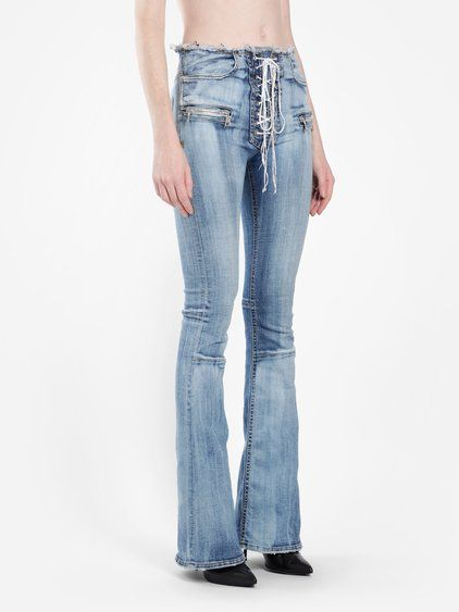 c75bcb60d92 BEN TAVERNITI UNRAVEL PROJECT BEN TAVERNITI UNRAVEL WOMEN'S BLUE FLARE LACE  UP JEANS. #bentavernitiunravelproject #cloth #