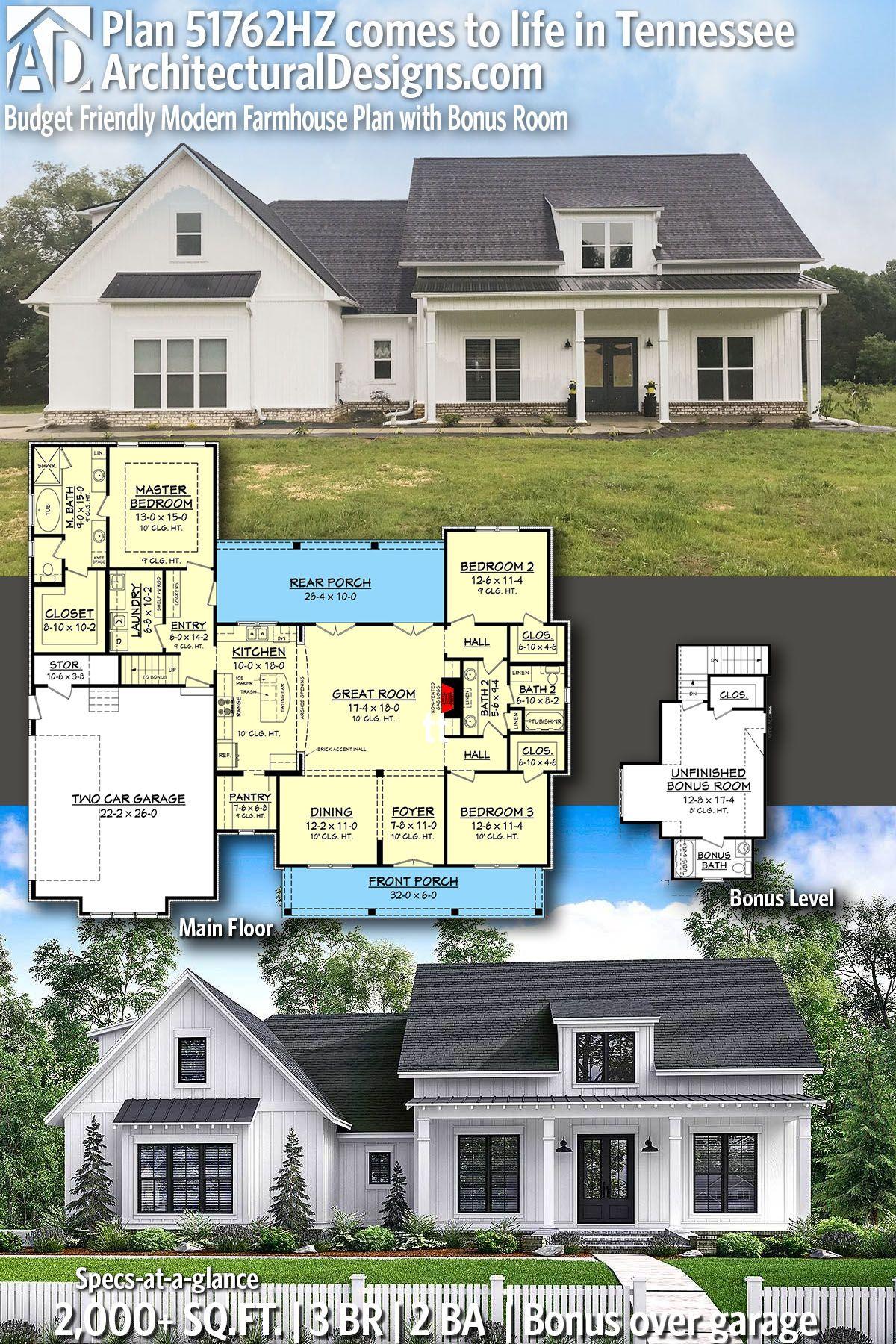 Plan 51762hz Budget Friendly Modern Farmhouse Plan With Bonus Room Modern Farmhouse Plans Architectural Design House Plans Farmhouse Plans