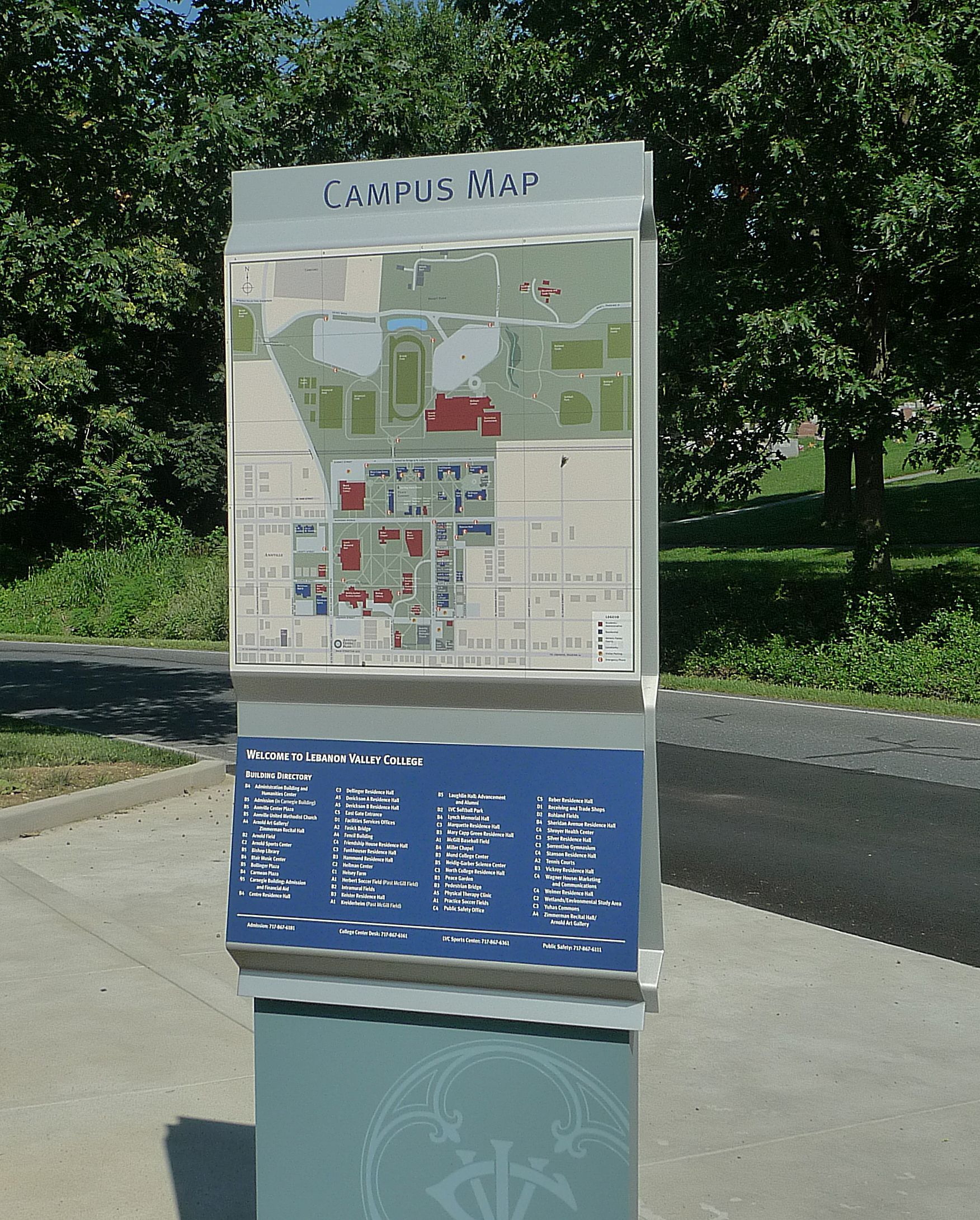 Lebanon Valley College Campus Map.Lebanon Valley College Wayfinding Campus Map Graphics