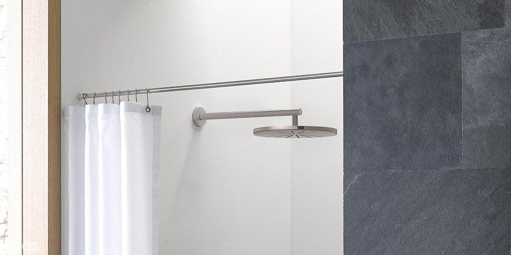 Phos I Duschvorhangstange Massiv Gerade Fur Nischen Design Duschvorhangstange Von Wand Zu Wand In Edelstahl Dsn12 Duschvorhangstange Vorhange Dusche