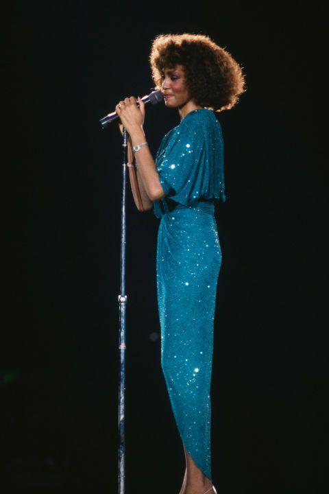 Whitney Houston in concert, circa 1986.