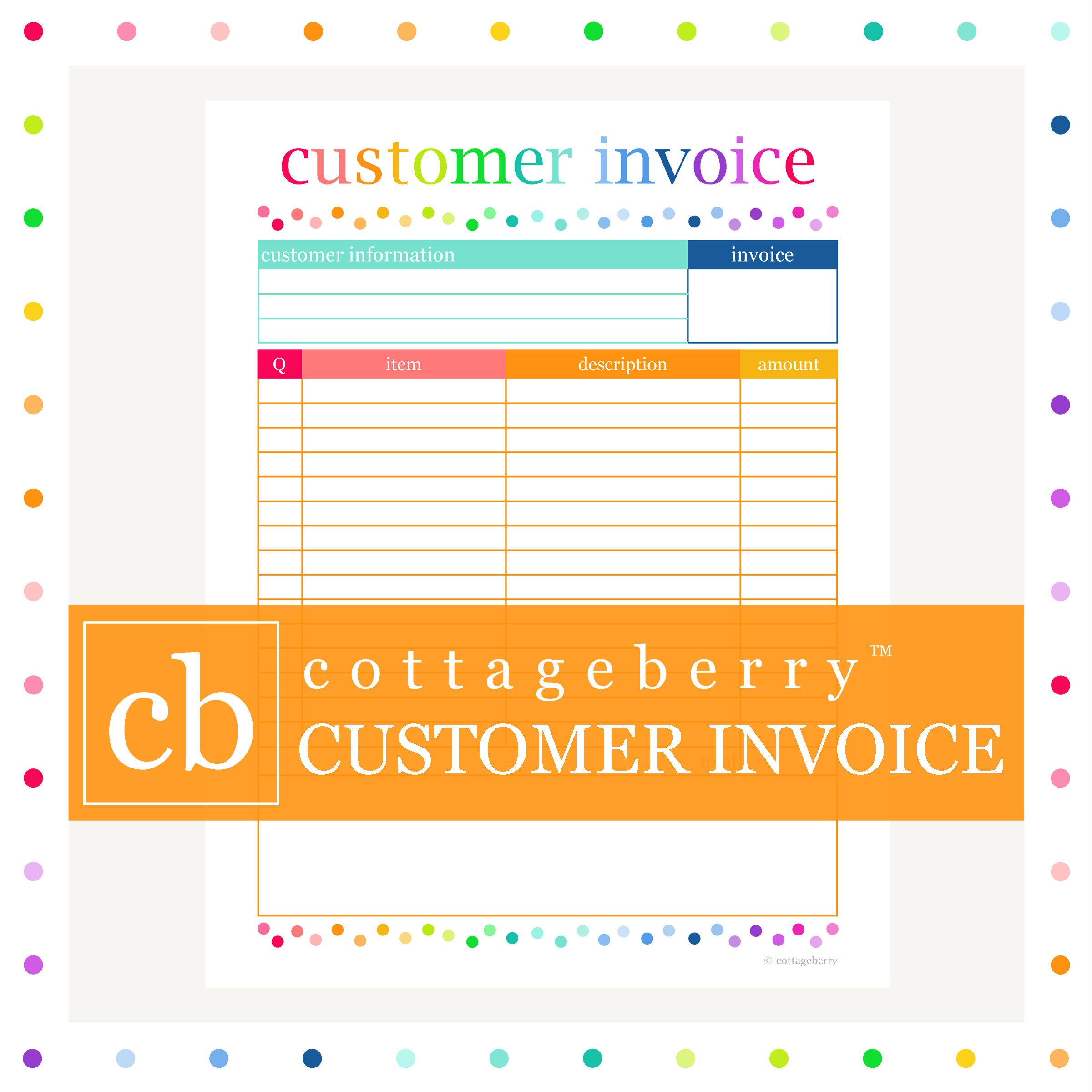 CUSTOMER INVOICE, business planner, printable, small business, etsy ...