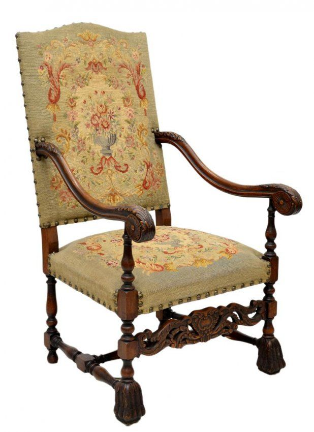 b3fb60b35760d 537  FINE FRENCH LOUIS XIV STYLE TAPESTRY ARM CHAIR on