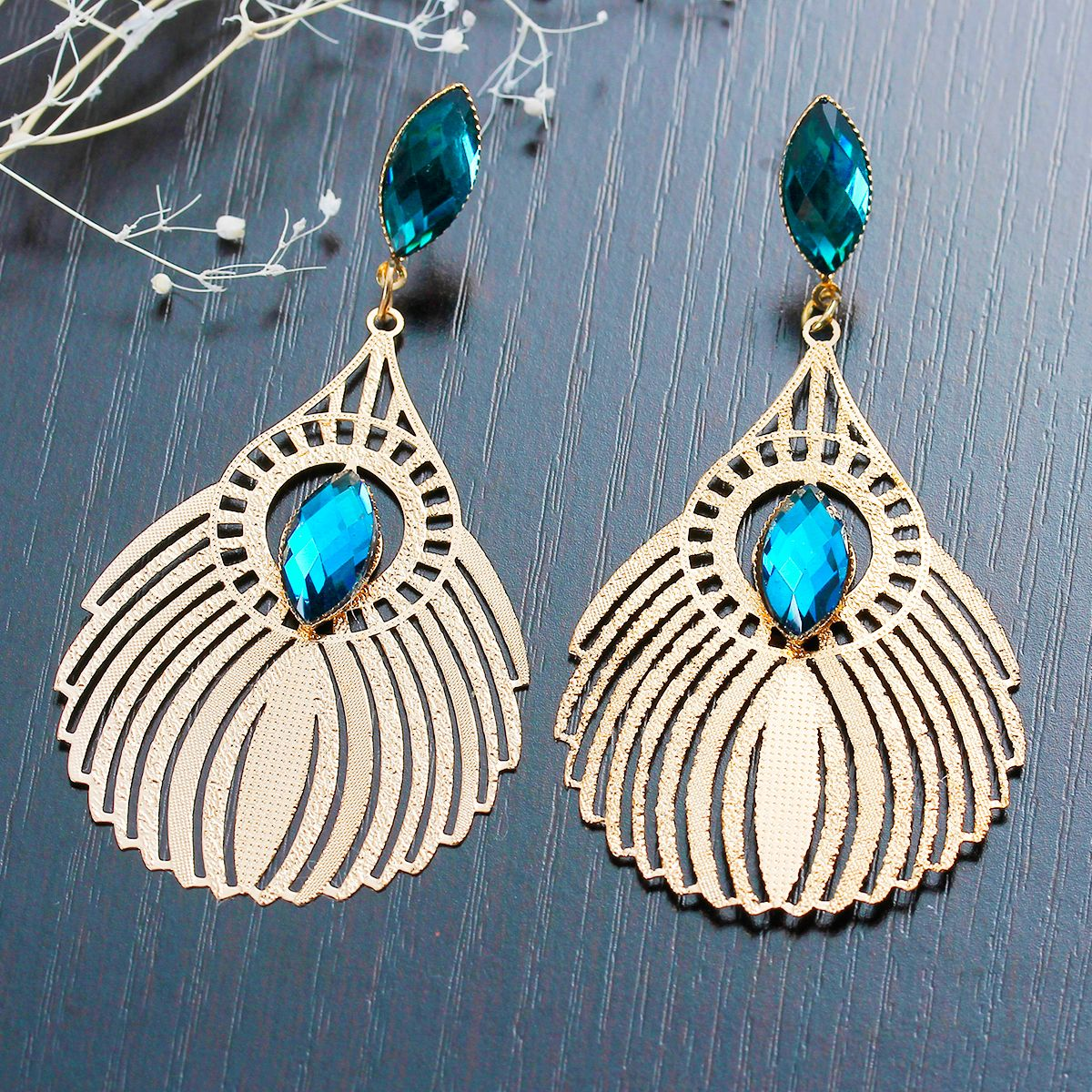 """New Fashion Copper Earrings Drop Rose Gold Malachite Green Rhinestone Hollow W/ Stoppers 78mm(3 1/8"""") x 38mm(1 4/8""""), 1 Pair"""
