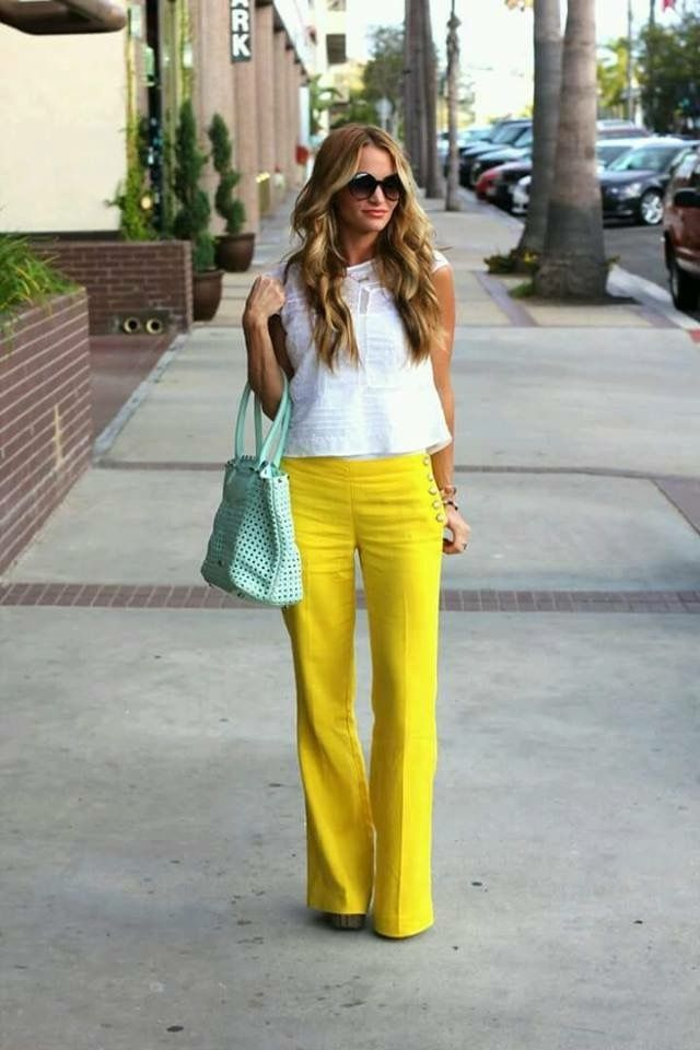 yellow pants  fashion sailor pants pants outfit