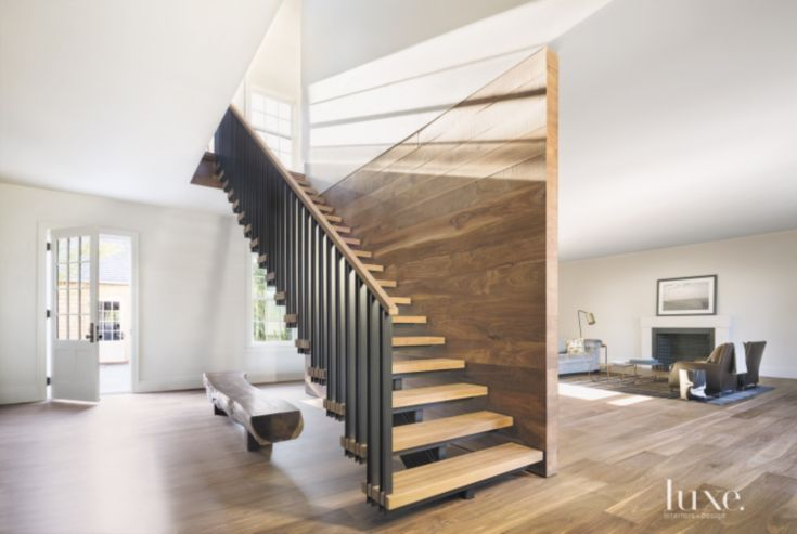 Best Modern White Staircase With Walnut Wall Staircase Design 400 x 300