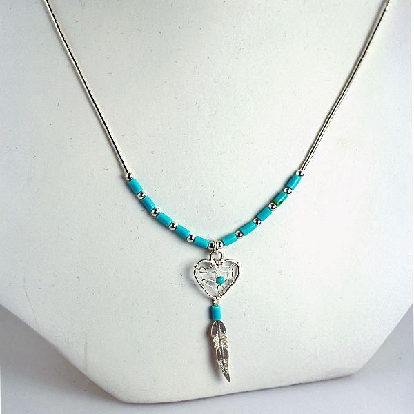 Liquid Silver and Turquoise Beaded Jewelry Necklace