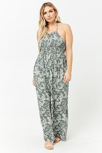 ea1f5be6d52 Plus Size Floral Smocked Maxi Dress