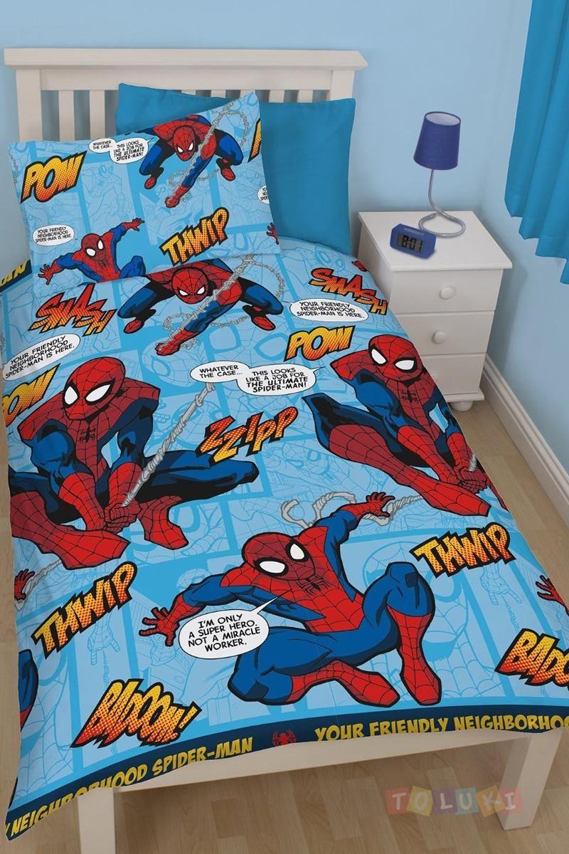 Parure de lit spider man comics parures de lit super - Housse de couette iron man ...