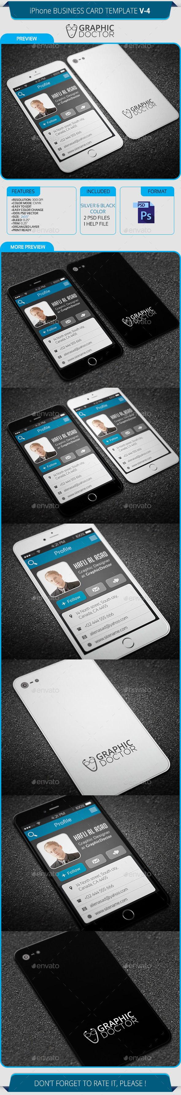 iPhone Business Card Template V-4 | Card templates, Business cards ...