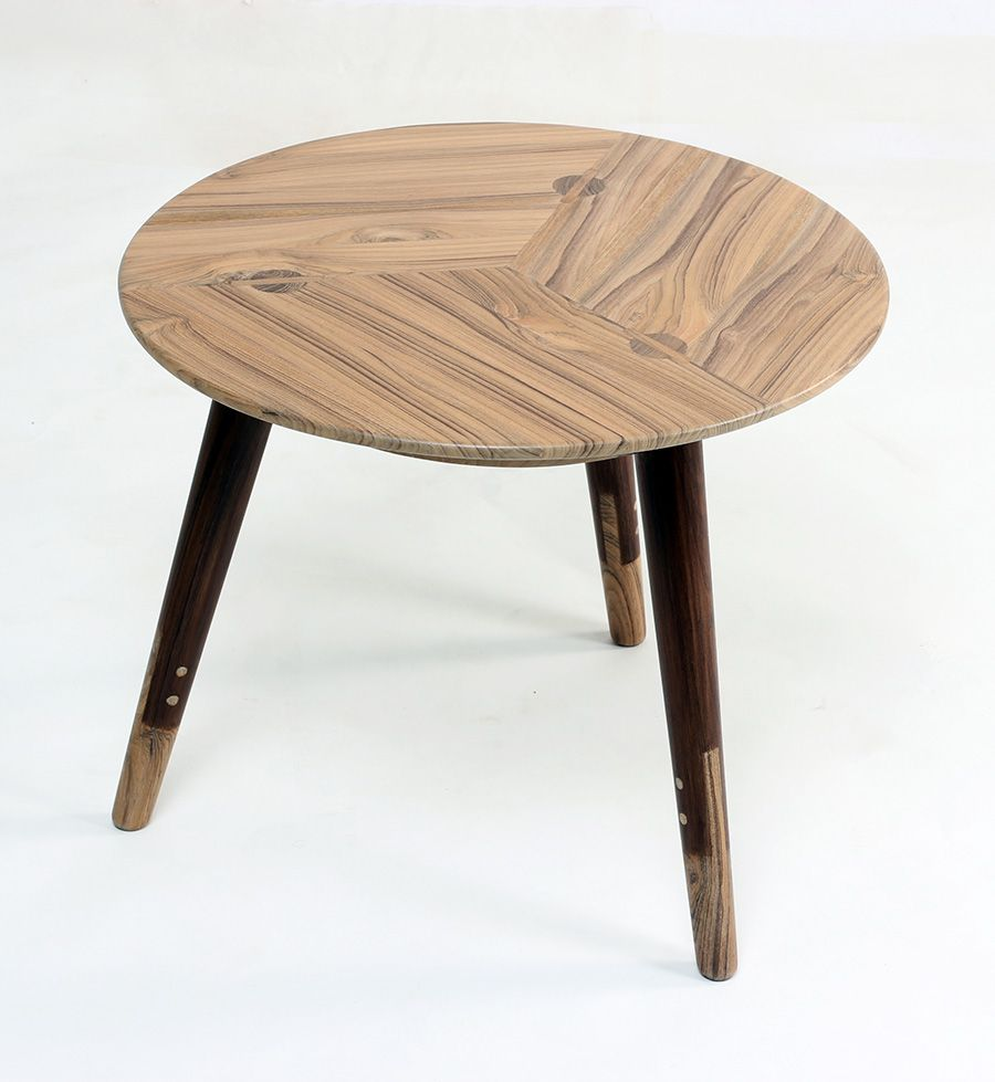 Three legged #wooden side / centre #table with two toned # ...