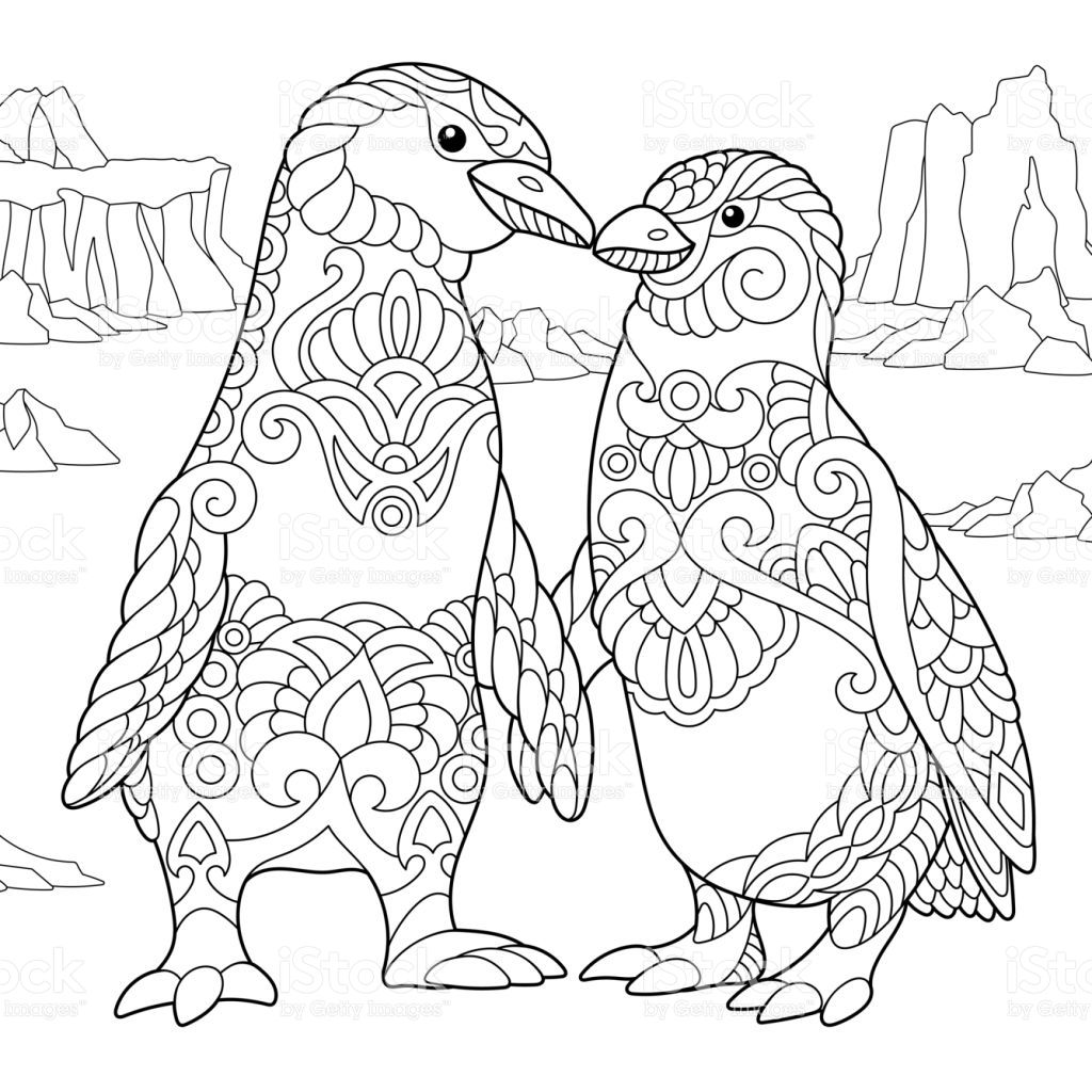 Emperor Penguins Couple In Love Freehand Sketch For Adult