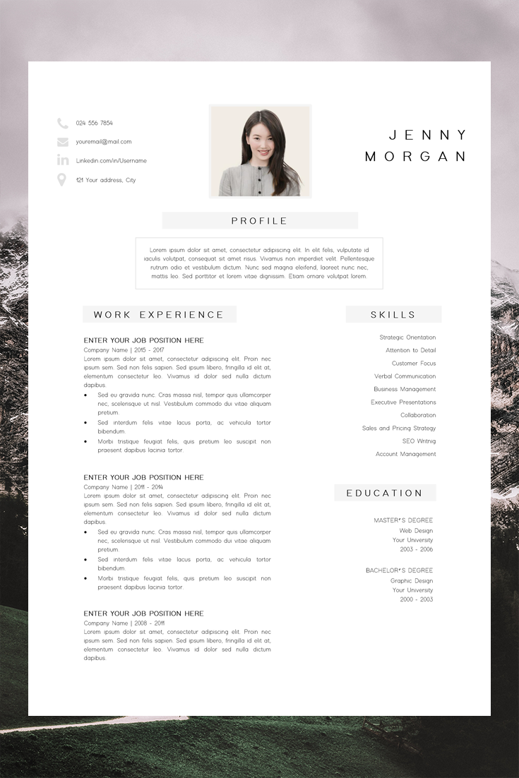 Simple Cv Template Word Resume With Photo Template Resume Etsy Simple Cv Template Resume Design Free Cv Template Word