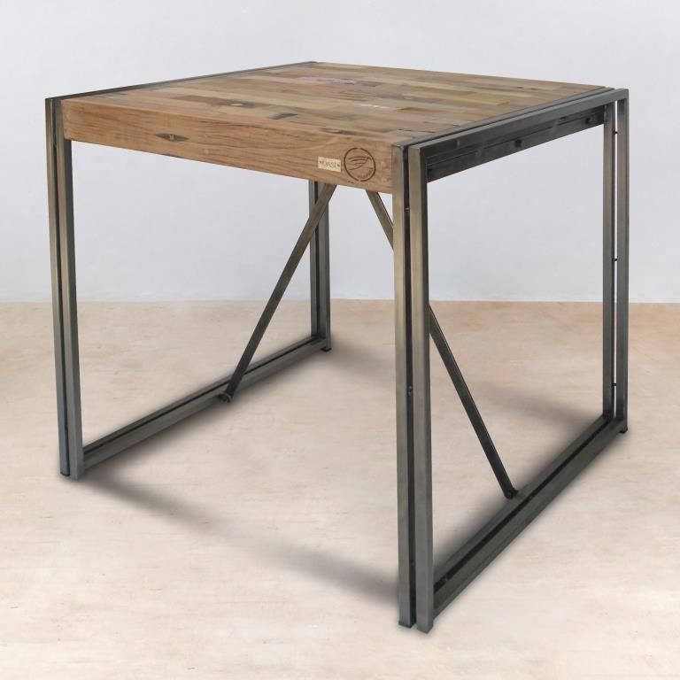 table mange debout carree bois recycle