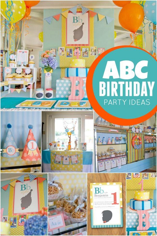 Abc Themed 1st Birthday Party Abc Birthday Parties Alphabet Birthday Parties First Birthday Party Themes
