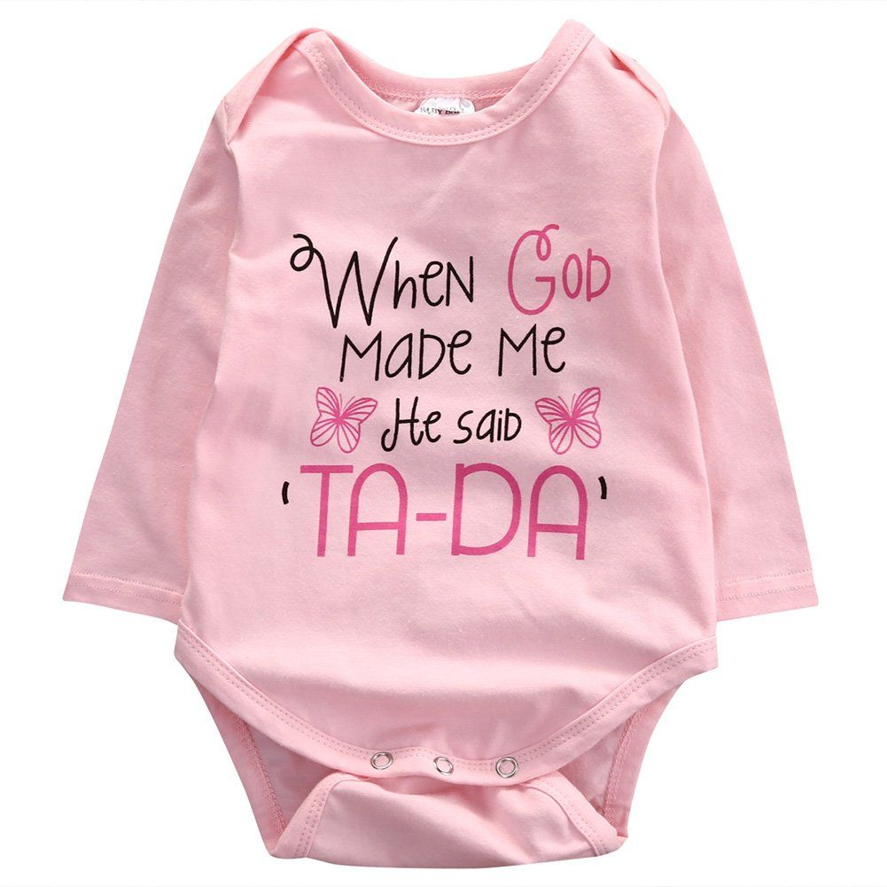 Infant Newborn Baby Girl Long Sleeve Word Print Butterfly Pattern Pink Romper 12 18months Pink Awesome Pr Baby Bodysuit Girl Boy Outfits Playsuits Outfit