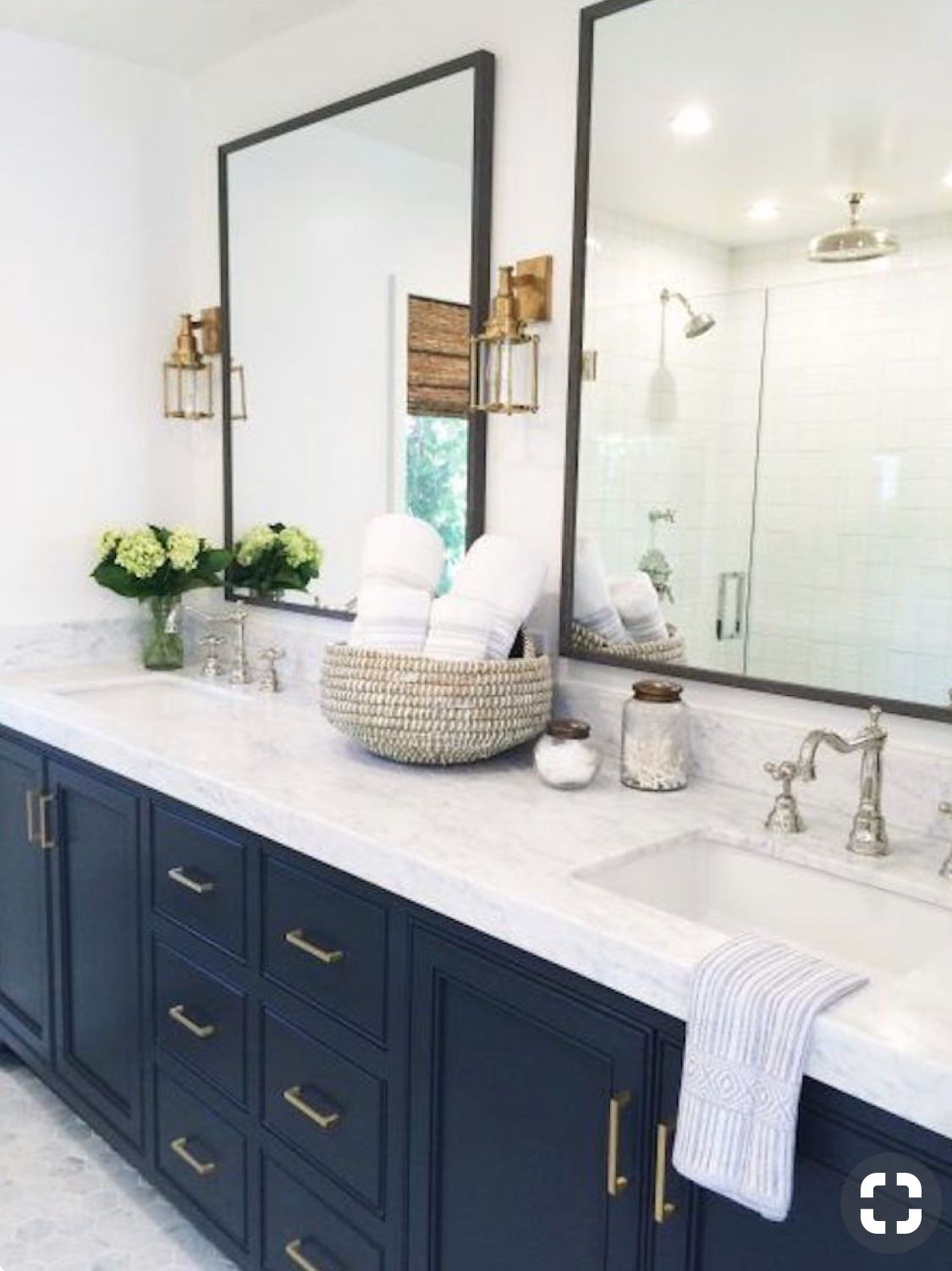 navy blue cabinets with black  copper finishes  bathroom