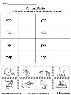 Ap Word Family Match Picture With Word Kg2 Pinterest Phonics