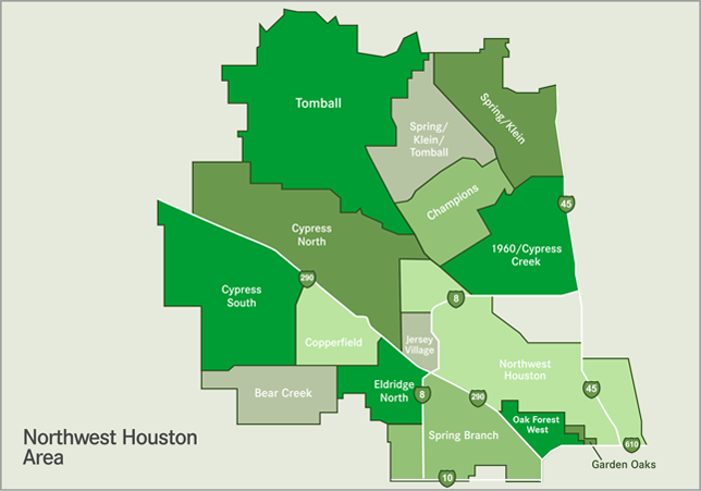 spring branch houston map Northwest Map Of Houston Surrounding Communities Area Map