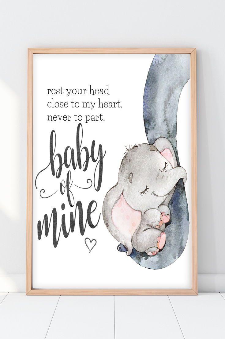 Elephant Nursery Decor | Baby Of Mine Print images