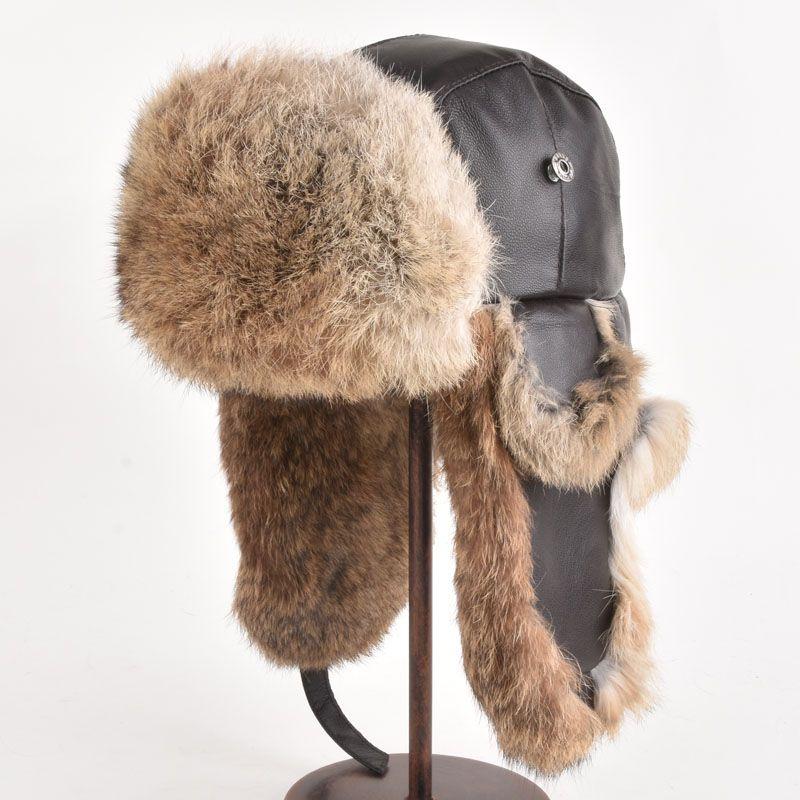 8b6e5343b59 Click to Buy    Winter Hat For Men Women Real Rabbit Fur Ear Cap ...