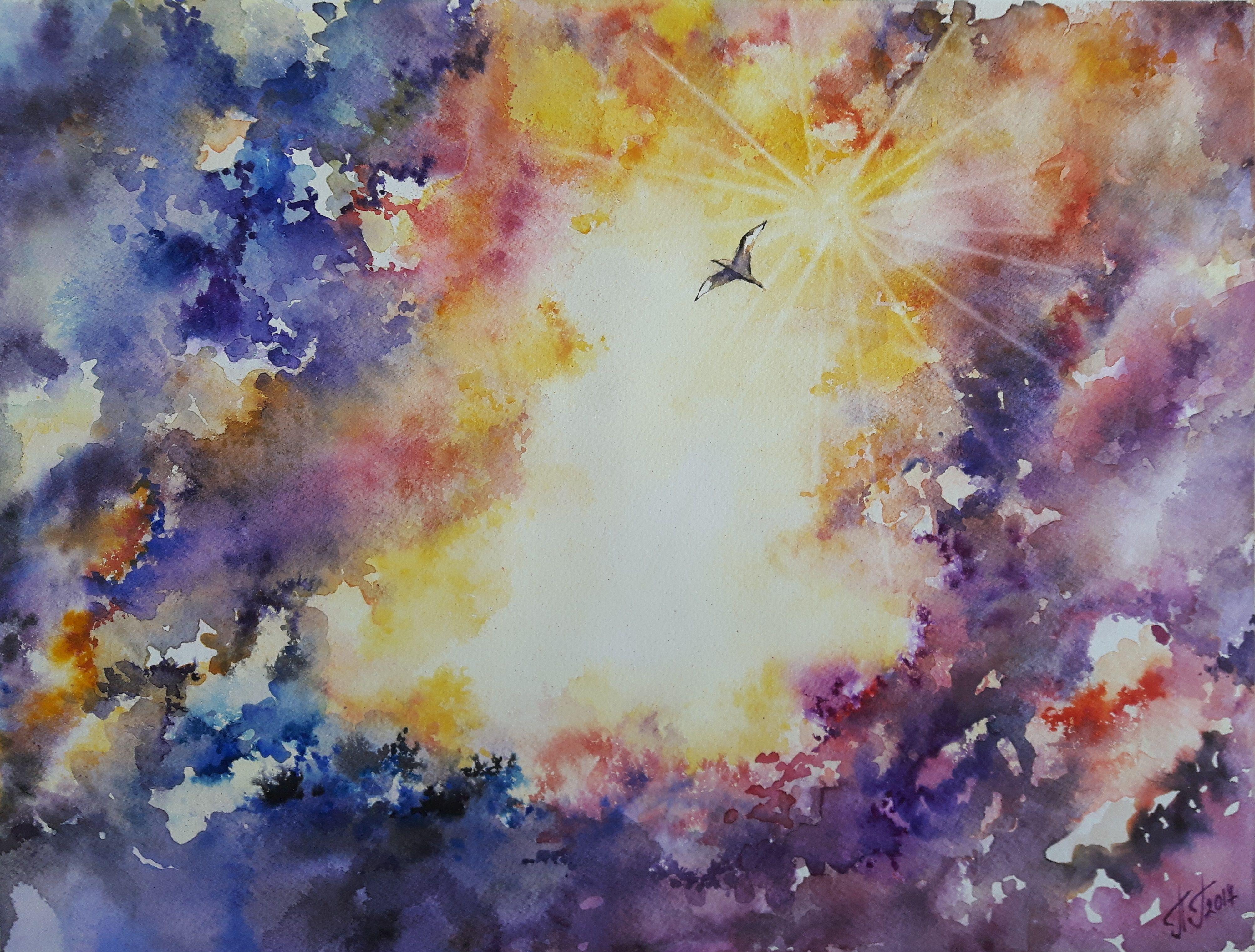 Original Watercolor Painting Titled Universe 43 Cm X 33 Cm