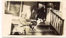 Cute Girl Kid on Front Porch Steps w/Camera Shy BOSTON TERRIER Dog 1940s Photo