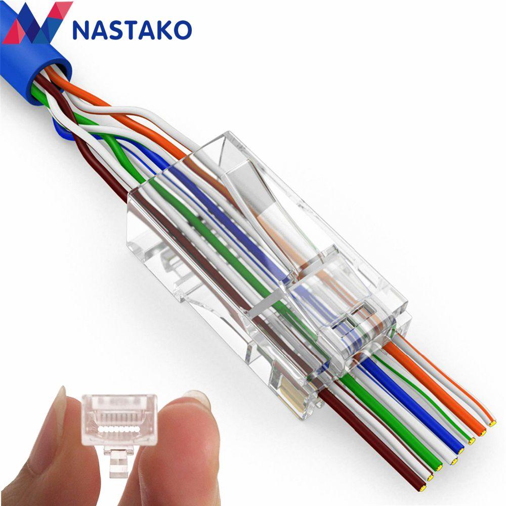 nastako 50 100x cat5e cat6 connector rj45 connector ez rj45 cat6 network cable plug unshielded modular utp terminals have hole [ 1000 x 1000 Pixel ]