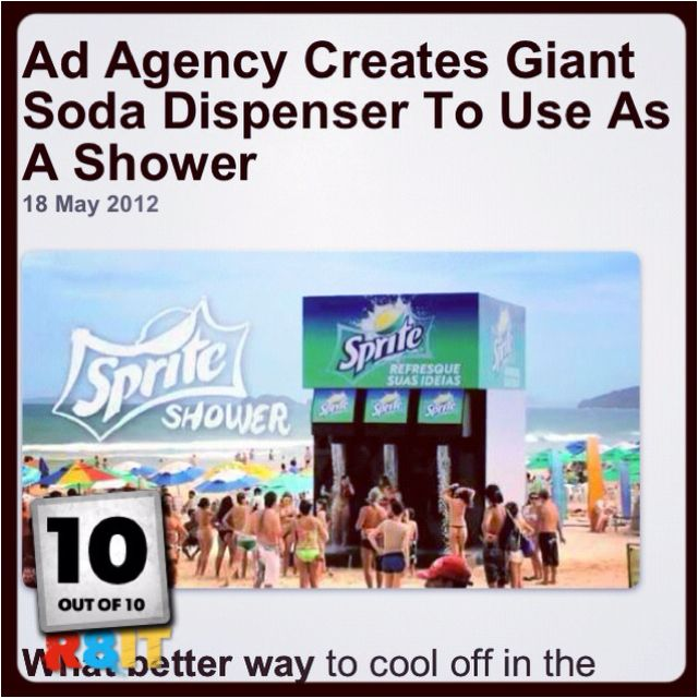 A Sprite Shower on the beach.