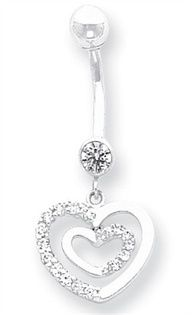 14K White Gold CZ Heart Belly Dangle Navel Jewelry Belly Button