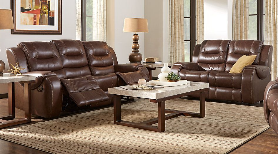 Veneto Brown Leather 3 Pc Living Room With Reclining Sofa In 2018