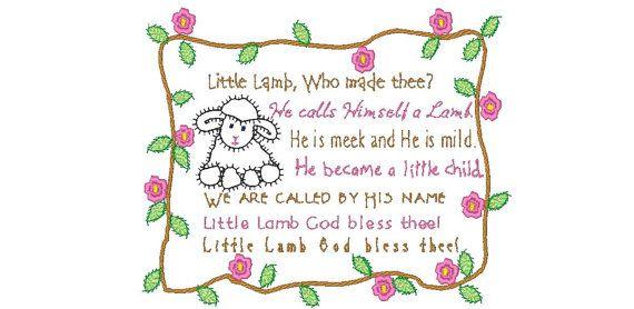 4efffda58c721 Little Lamb Baby Blanket Applique   poem by William Blake 1789 ...