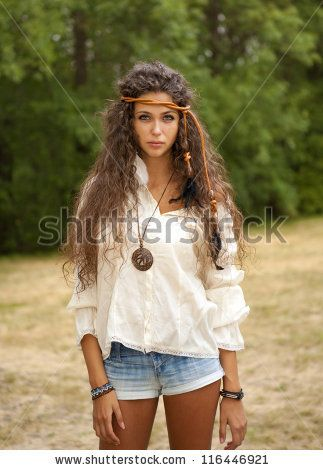 Beautiful hippie girl in the park. - stock photo ...