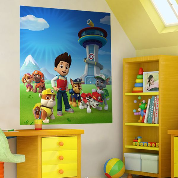 stickers pour enfants poster la pat patrouille paw patrol d coration chambre d 39 enfant pat. Black Bedroom Furniture Sets. Home Design Ideas
