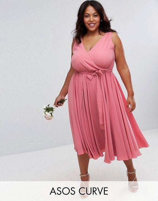 CURVE WEDDING Bow Front Midi Dress | Boda