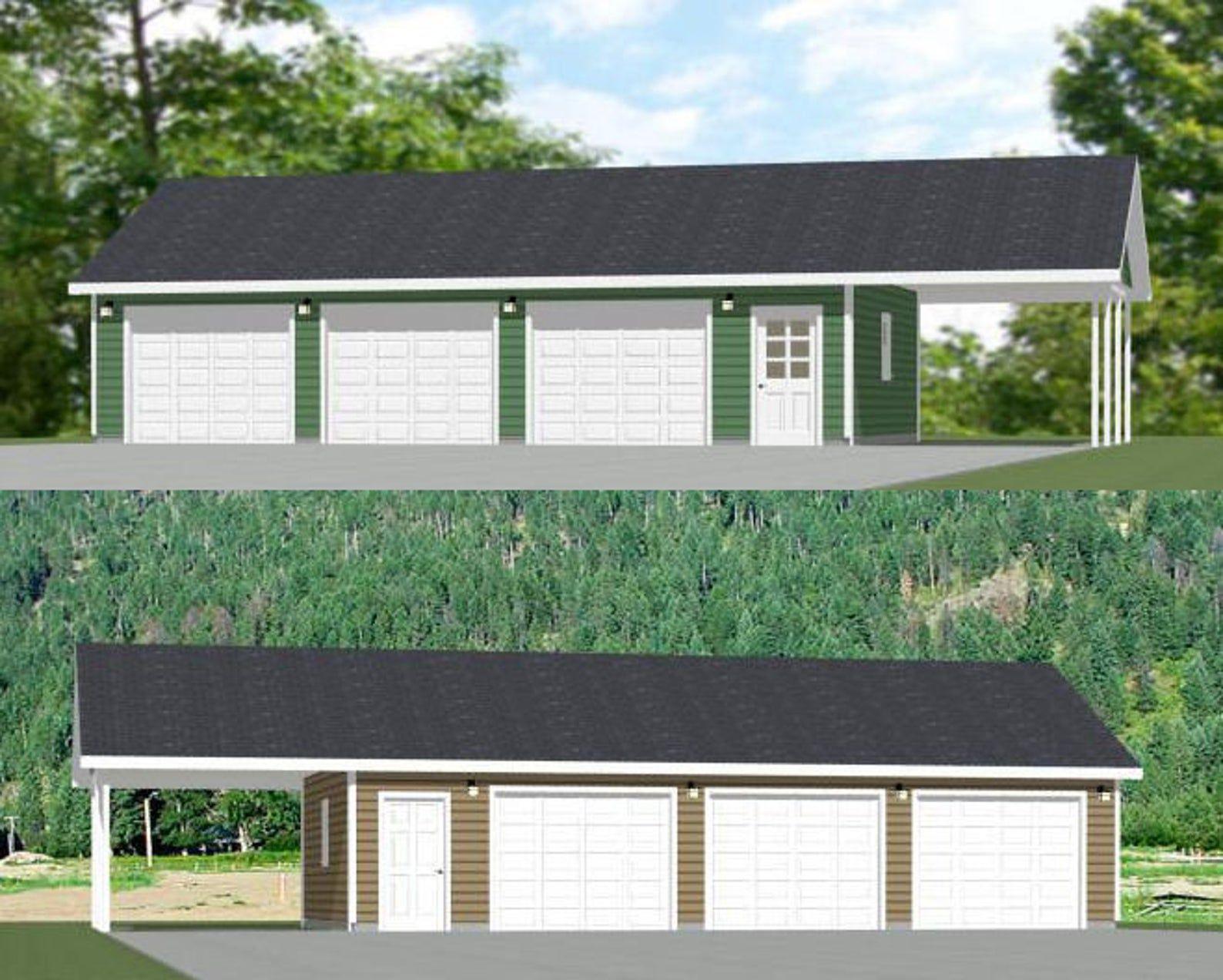 40x24 3 Car Garage 960 Sq Ft Pdf Floor Plan Instant Download Models 1e And 1i In 2020 Garage Plans Car Garage Metal Garage Buildings