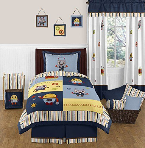 Modern Robot Navy Blue Stripes Childrens and Kids 3 Piece Full / Queen Boys Bedding Set Collection Sweet Jojo Designs http://www.amazon.com/dp/B00N2UAUEQ/ref=cm_sw_r_pi_dp_Z746vb0W0JH30