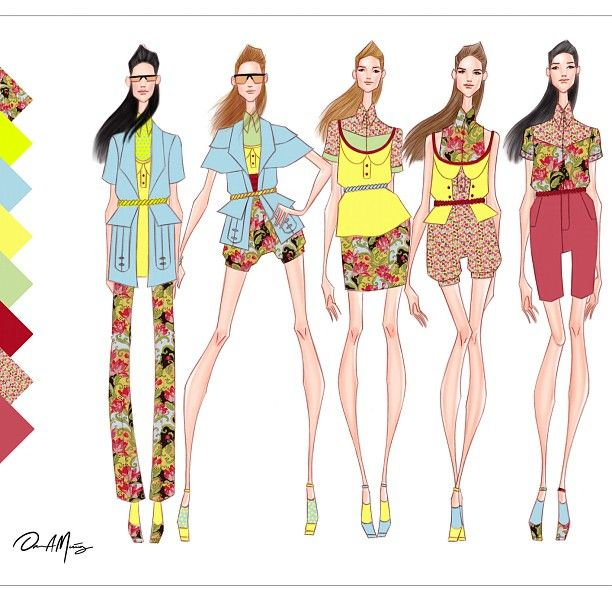 Concept collection using colorful prints. All original designs. Follow me for updates.  #fashion #fashiondesigner #fashionaddict #fashionillustration #fashionillustrator #design #designer #latindesigner #print #floral #spring #danielmunoz #danielmunozfashion #art #original #followme #remembermyname #nyfw #vogue #trend