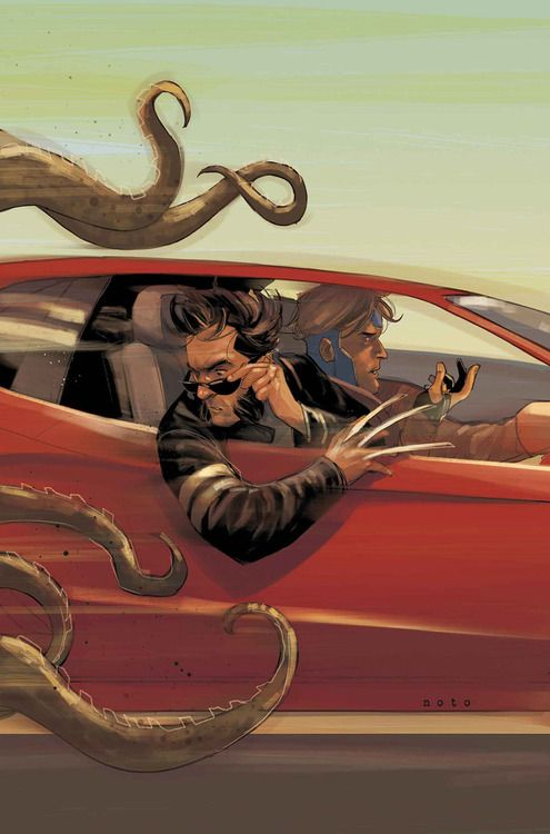Can your car outdrive Cthluhu? Astonishing X-Men #67 - Wolverine and Gambit by Phil Noto