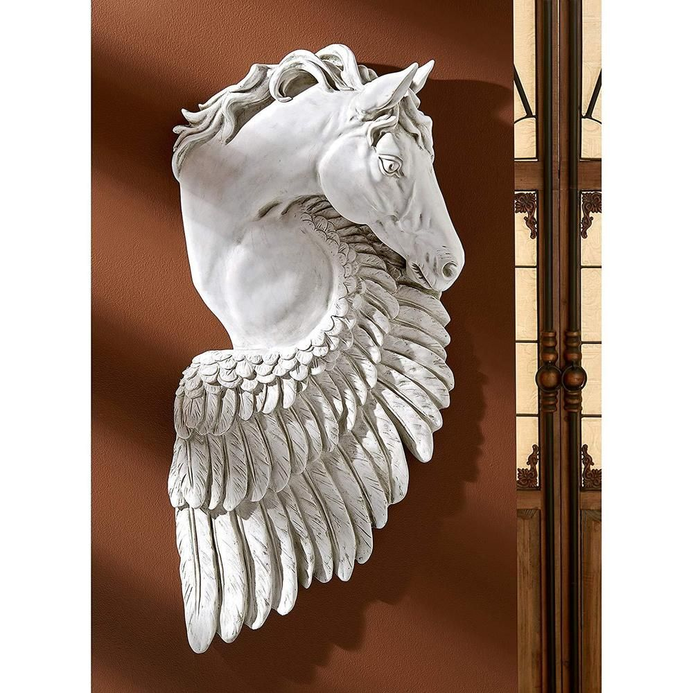 Viking Fantasy Wall Art Winged Horse Faux Stone Horse Art Mythical Horse Art Hand Carved Stone wall Art Wall Plaque