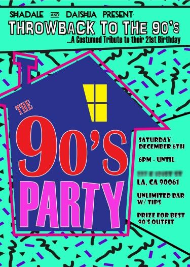 90s Theme House Party Digital Birthday Invitation Party