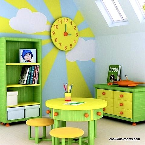 kids room wall clock in bright yellow | Places and Spaces ...