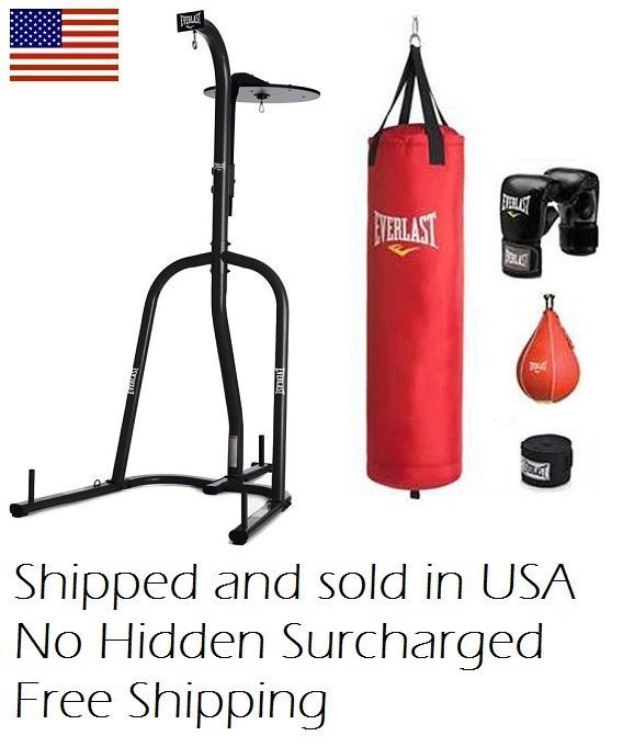 Everlast 70 Lb Heavy Punching Boxing Bag Kit Stand Sd Punch Gloves Mma Gym